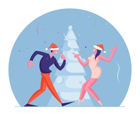 Man and Woman Couple Having Fun on New Year Holidays Event with Music and Fir Tree. Happy People in Santa Hats Dancing on Corporate or Home Christmas Party Celebration Cartoon Flat Vector Illustration