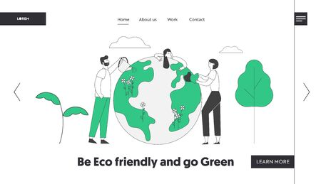 Environment Care, Day of Earth Website Landing Page. People Stand near Big Earth Globe Caring and Watering Plants. Volunteers Saving Nature Web Page Banner. Cartoon Flat Vector Illustration, Line Art Reklamní fotografie - 132222906