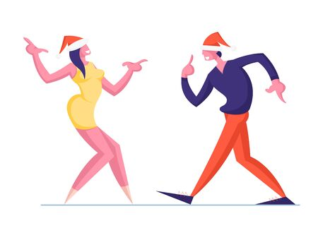 Man and Woman Couple in Santa Hats Dance Isolated on White Background. Happy People Dancing on Corporate or Home Party New Year Holidays or Christmas Celebration Event Cartoon Flat Vector Illustration