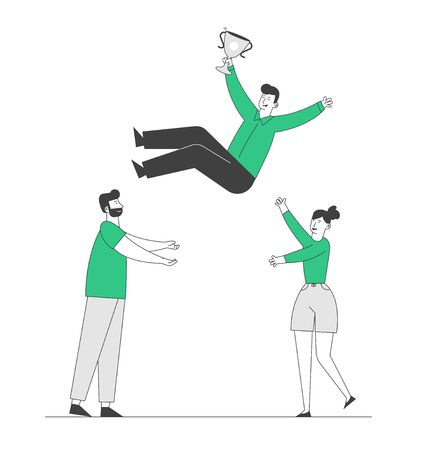Cheerful Business Man and Woman Team Tossing in Air Winner Holding Golden Cup Trophy First Prize. Business People Celebrate Victory Throwing Colleague Up. Cartoon Flat Vector Illustration, Line Art