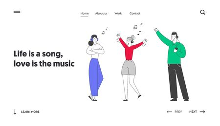 Friends Having Fun Leisure Website Landing Page. Young Girls and Man Wearing Headset Listening Music. Fans Dancing