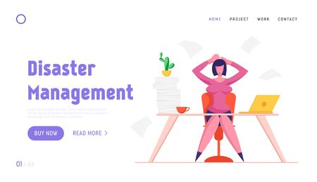 Deadline Stress and Time Management Website Landing Page. Stressed Business Woman Holding Head with Hands Sitting at Workplace with Documents Heap Web Page Banner. Cartoon Flat Vector Illustration