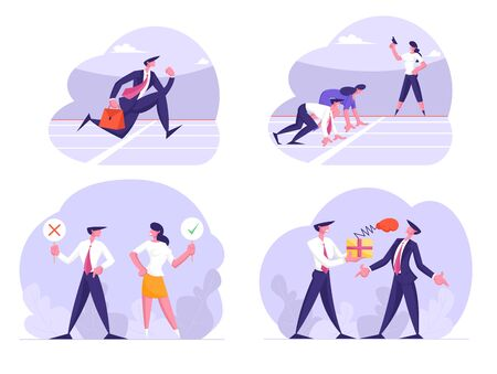 Business Marathon Competition, Politics Voting and Unfair Fighting Set. Businesspeople Running and Competing on Stadium Track, Holding Yes No Signs, Boxing Punching Cartoon Flat Vector Illustration