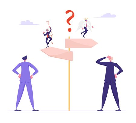 Doubts and Confusion Concept. Businesspeople Making Important Decision and Choice Standing at Crossroad with Devil and Angel Sitting on Road Pointer. People Choose Way Cartoon Flat Vector Illustration
