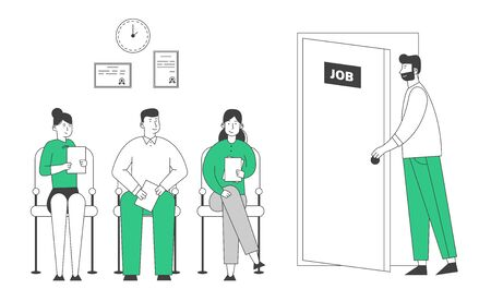 People Waiting Job Interview Sitting in Office Lobby on Chairs. Applicants with Cv Documents Hiring Work. Worried Candidate Enter Door with Job Signboard. Cartoon Flat Vector Illustration, Line Art