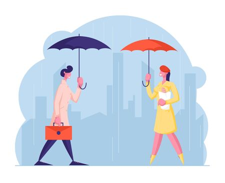 City Passers-by at Wet Rainy Autumn or Spring Weather. Happy Drenched People with Umbrella Walk in Rain, Man with Briefcase Woman with Bread, Cold Water Pour from Sky Cartoon Flat Vector Illustration