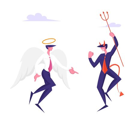 Business Characters Angel and Demon Arguing in Heaven. Cheerful Satan with Horns Holding Pitchfork and Holy Spirit with White Wings and Nimbus on Head Confrontation. Cartoon Flat Vector Illustration Ilustrace