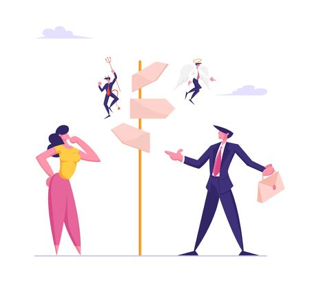 Choice Way and Doubts in Business Life Concept. Businessman and Businesswoman Stand on Crossroad Fork with Angel and Demon Sitting on Pointer Choose Road Direction. Cartoon Flat Vector Illustration