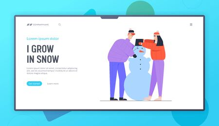 People Playing on Christmas Holidays Vacation Website Landing Page. Man and Woman Making Funny Snowman Put Bucket on his Head. Winter Time Activity Web Page Banner. Cartoon Flat Vector Illustration