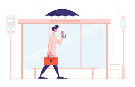 Young Business Man City Dweller with Umbrella and Briefcase Stand on Bus Station in Rain. Bad Rainy Weather in City. Seasonal Storm, Spring Autumn Meteorology Forecast Cartoon Flat Vector Illustration