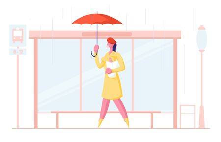 Woman City Dweller Holding Umbrella and Bread Stand on Bus Stop Waiting Transport in Rain on Urban Background in Spring Autumn Rainy Season Weather. Meteorology Storm Cartoon Flat Vector Illustration
