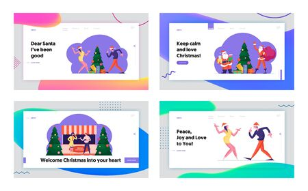 Winter Holidays Season Activity, Fair and Christmas Celebration Website Landing Page Set. People Dancing on Party, Santa Bringing Gifts, Festive Sale Web Page Banner. Cartoon Flat Vector Illustration 矢量图像