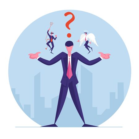Businessman with Angel and Devil Sitting on Shoulders Whispering in his Ear and Question Mark above Head. Entrepreneur Have Moral Dilemma Making Complicated Decision. Cartoon Flat Vector Illustration Иллюстрация
