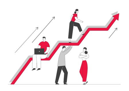 Investment Growth Concept. Business Characters Team Working and Holding Huge Growing Arrow, Leader Climbing on Top. Businesspeople Teamwork and Leadership. Cartoon Flat Vector Illustration, Line Art Illustration
