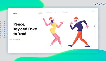 Happy People Dancing on Corporate or Home Party Website Landing Page. Man and Woman in Santa Hats Dance New Year Holidays or Christmas Celebration Web Page Banner. Cartoon Flat Vector Illustration