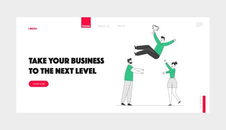Business People Celebrate Victory Throwing Colleague Up Website Landing Page. Cheerful Man and Woman Tossing in Air Winner Hold Golden Cup Web Page Banner. Cartoon Flat Vector Illustration, Line Art