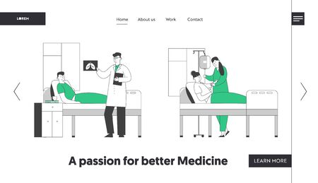Patients in Hospital Chamber Website Landing Page. Doctor Watching X-ray Image of Lungs in Pulmonology Department, Nurse Set Up Dropper to Sick Girl Web Page Banner. Cartoon Flat Vector Illustration