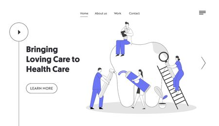 Stomatology ans Dentistry Website Landing Page. Dentists Cleaning, Treating Unhealthy Tooth Plaque and Caries Hole. Doctors Working Together, Brushing Web Page Banner. Cartoon Flat Vector Illustration Çizim