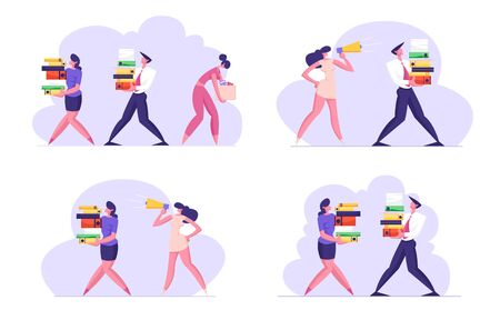 Set of Company Employees at Busy Work, Managers Deadline. Overloaded Business Men and Women Carry Big Heap of Documents Files. Businesswoman with Megaphone in Office. Cartoon Flat Vector Illustration  イラスト・ベクター素材