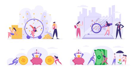 People Increasing Savings, Making Investments. Male and Female Business Characters Growing Wealth Profit, Save Money in Piggy Bank, Magnifying Partners Worldwide. Cartoon Flat Vector Illustration Vektorgrafik