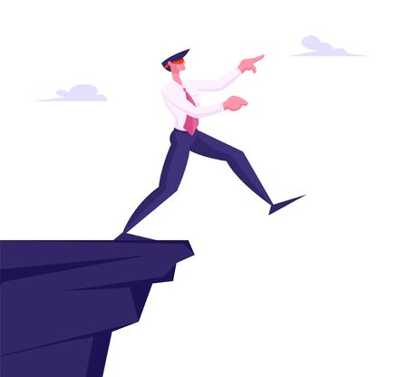 Inexperienced Weak or Foolish Businessman Take Step Blindfolded on Edge of Abyss. Crisis Management, Bankruptcy