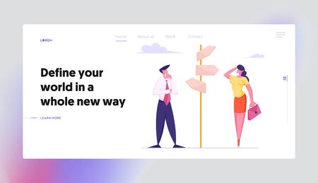 Businesspeople Making Important Decision and Choice Website Landing Page. People Decide what Way to Choose Standing at Crossroad Directions Pointer Web Page Banner. Cartoon Flat Vector Illustration