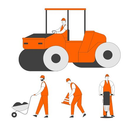 Road Repair and Construction Set. Compactor Rolling Machine and Working People with Cones, Wheelbarrow Illustration