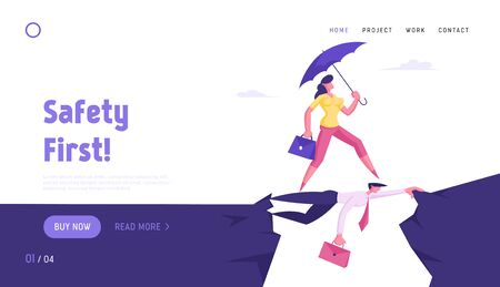 Social Climber, Careerist Reach Goal Website Landing Page. Business Woman with Umbrella Overcome Abyss Going by Back of Businessman like on Bridge, Web Page Banner. Cartoon Flat Vector Illustration