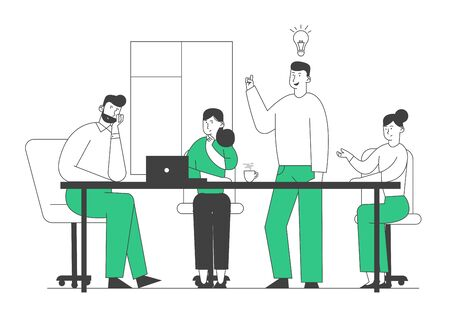 Brainstorming Creative Process in Office. Business People at Desk Discussing Idea Concept with Light Bulb. Team Project Development, Teamworking Insight Cartoon Flat Vector Illustration, Line Art Vetores