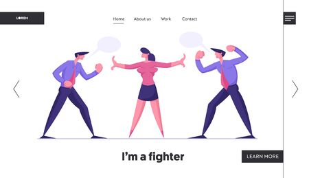 Business Competition Challenge Website Landing Page. Businesswoman Referee Stand between of Angry Men Preparing to Fight Waving Fists and Arguing Web Page Banner. Cartoon Flat Vector Illustration