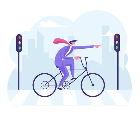 Purposeful Businessman in Formal Wear Riding Bicycle Pointing with Finger Ahead Crossing Road by Crosswalk
