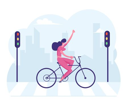 Cheerful Businesswoman Riding Bicycle with Hand Up Crossing City Road by Crosswalk with Zebra Markup and Traffic Lights Illusztráció