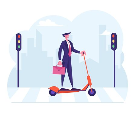 Self Confident Businessman in Formal Clothing Holding Briefcase Drinking Coffee while Riding Electric Scooter to Work