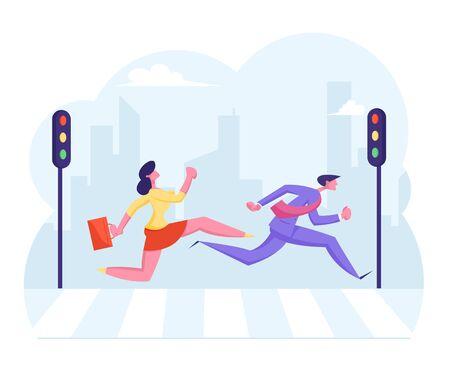 Beschäftigte Stadtmenge zieht zum Fußgängerüberweg. Geschäftsmann und Geschäftsfrau mit Aktentasche, die schnell läuft