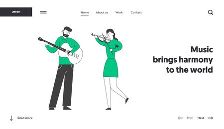 Classical or Popular Music Concert Performance Website Landing Page. Musicians with Instruments Perform on Stage