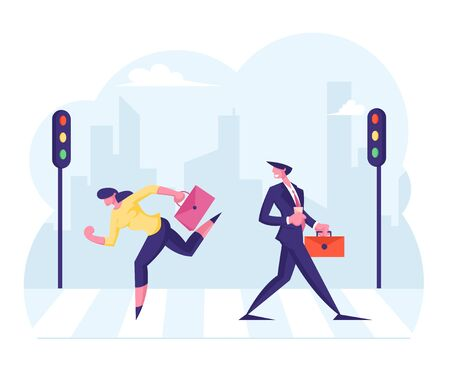 Business People Walking at Town Street along Road Crosswalk with Traffic Lights in City Center. Woman with Briefcase Running Fast Hurry at Work, Busy Urban Life. Cartoon Flat Vector Illustration