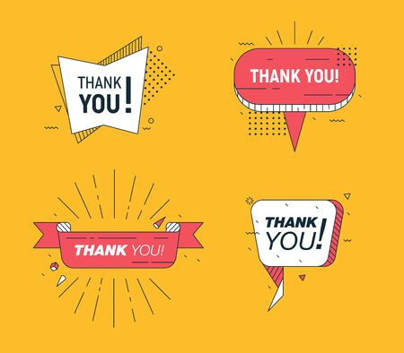 Set of Banners Speech Bubbles with Typography Thank You and Elements in Memphis Geometric Style. Icon Message Cloud Talk for Poster on Thanksgiving Day. Creative Design Cartoon Vector Illustration Ilustração