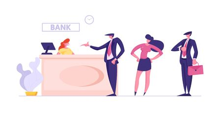 Visitors and Employees in Bank Office. Public Access to Financial Services. Interior with Woman Worker Sitting at Counter Desk and Clients Waiting Consulting in Queue Cartoon Flat Vector Illustration Ilustração