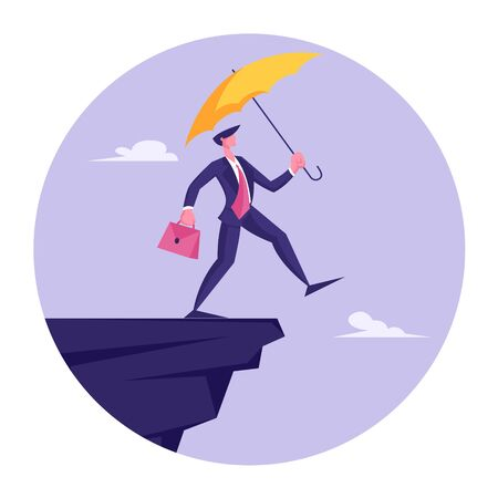 Businessman Leap of Faith Concept. Presumptuous Business Man Walking Off Cliff with Yellow Umbrella and Suitcase