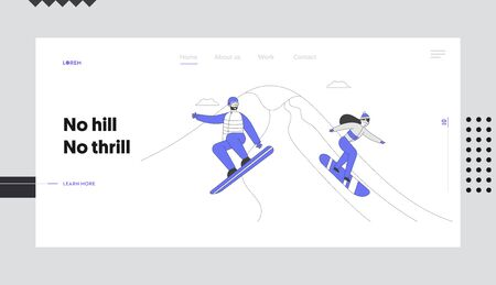 Winter Resort Sport Spare Time Website Landing Page. Snowboard Riders Having Fun and Winter Mountain Sports Activity