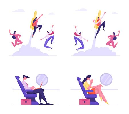 Set of Business Characters Traveling by Airplane for Working Trip and Flying with Jetpack on Back. Businesspeople