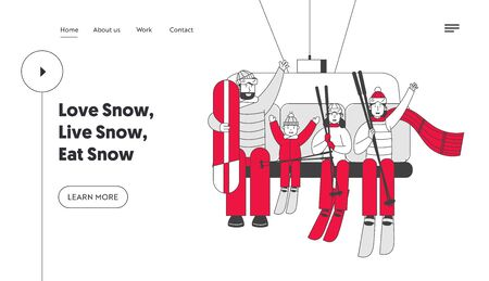Winter Vacations Activity Website Landing Page. Skiers and Skateboarder Family of Parents and Kids Go Up Hill on Rope Illustration