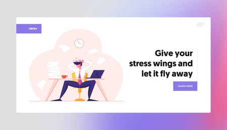 Business Failure, Stress and Frustration Website Landing Page. Tired Stressed Worker Sitting in Office Holding Head Ilustrace