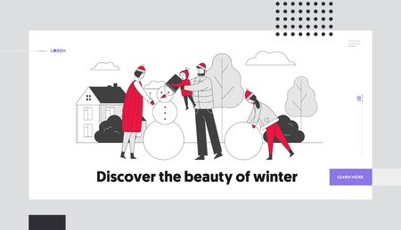 Wintertime Vacation Holiday Season Sparetime Website Landing Page. Happy Family with Children Making Snowman Ilustração