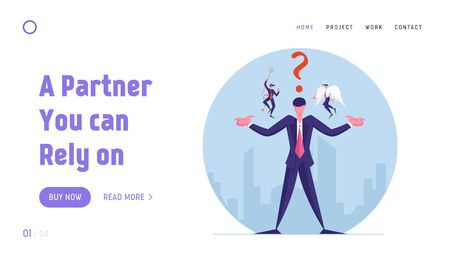 Entrepreneur Making Complicated Decision Website Landing Page. Businessman with Angel and Devil Sitting on Shoulders Whispering in Ear and Question Web Page Banner. Cartoon Flat Vector Illustration