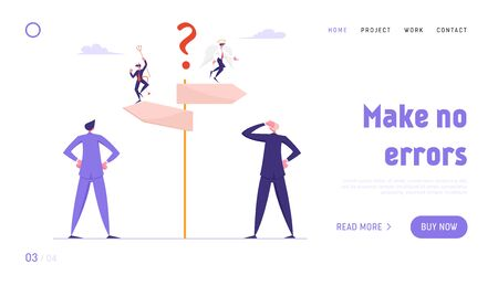 Doubts and Confusion Website Landing Page. Businesspeople Making Important Decision and Choice Stand at Crossroad with Devil and Angel on Road Pointer Web Page Banner. Cartoon Flat Vector Illustration Иллюстрация