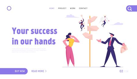 Choice Way and Doubts in Business Life Website Landing Page. Businessman and Businesswoman Stand on Crossroad Fork with Angel and Demon on Pointer Web Page Banner. Cartoon Flat Vector Illustration