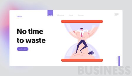 Deadline in Business Process Website Landing Page. Businessman Sinking in Sand inside of Hourglass. Time Management, Working Schedule Infographics Web Page Banner. Cartoon Flat Vector Illustration