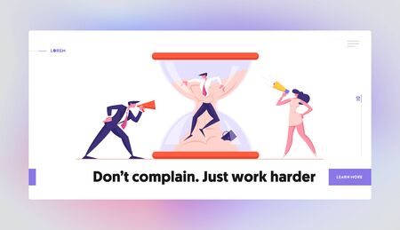 Businessman in Stress Deadline Situation Website Landing Page. Angry Boss Yelling to Megaphone at Office Employee Stuck in Hourglass Sinking in Sand Web Page Banner. Cartoon Flat Vector Illustration