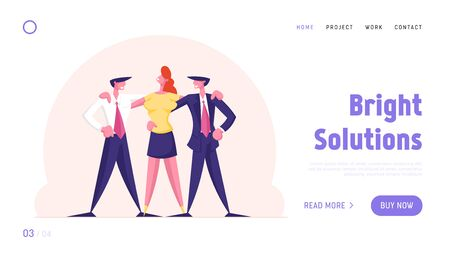 Managers Team Perfect Teamworking Group Website Landing Page. Joyful Businessmen and Businesswoman Characters Creative Successful Office Employees Web Page Banner. Cartoon Flat Vector Illustration Stock Illustratie